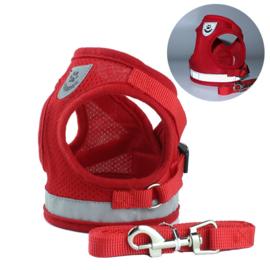 Reflecterend honden tuigje / puppy tuigje  | rood