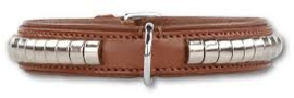 DOXTASY leren halsband Silverrow brown  25mm