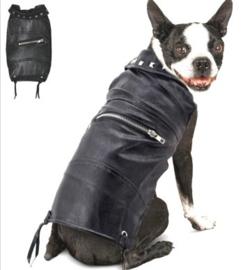 Leer-look honden jack regenjas | zwart | XS, S, M, L, XL