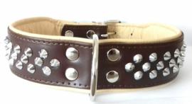 ELEGANCE leren halsband met studs | bruin/beige