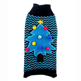Kersttrui hond | blauw / zwart | L, XL, XXL