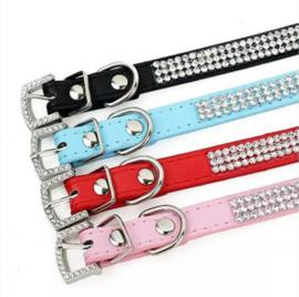 R04 - Honden halsband met strass | 20 - 27cm