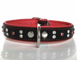 AMORI leren halsband met strass   Zwart/rood 52cm