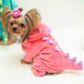 Dinosaurus honden kostuum | Roze |  XL