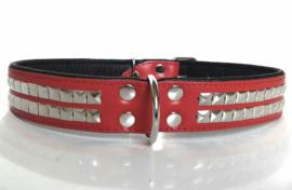 Leren honden halsband met studs | ZORAN | rood/zwart 75cm