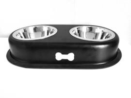 Duo hondenvoerbak zwart | 45x26