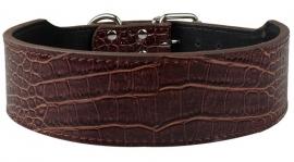 HB22 - Halsband croco-look | Bruin |  53 - 61 cm