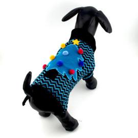 Kersttrui hond   blauw / zwart   L