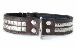 v- Leren honden halsband met studs | ZORAN | Bruin 75cm
