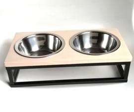 Dubbele honden voerbak / drinkbak metaal/hout