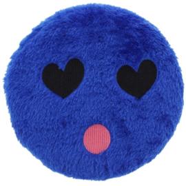 Hondenspeelgoed pluche smiley blauw met squeaker