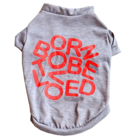 "Hondenshirt ""Born to be loved"" grijs 