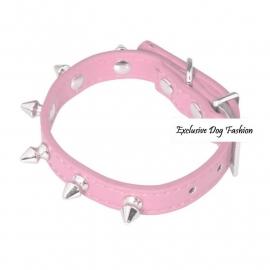 A01 - Halsband met spikes, roze. 18 - 25.5cm