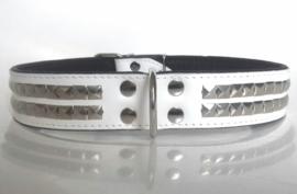 Leren honden halsband met studs | ZORAN | wit/zwart 75cm