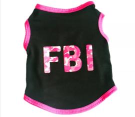 Hondenshirt FBI zwart/roze | XS, S, M, L