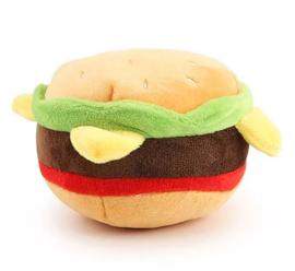 Pluche honden speelgoed met piepgeluid hamburger