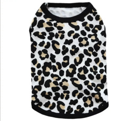 Mouwloos hondenshirt met luipaardprint | S