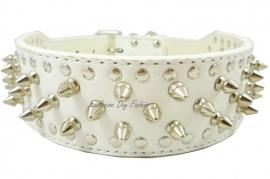 L01 - Honden halsband met spikes   wit   51cm