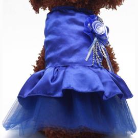 Satijn-look hondenjurk met tule | Blauw | S, M, L, XL, XXL