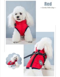 FASHION SPORTS 2-in 1 honden bodywarmer met harnas   rood    S, M, L, XL,XXL