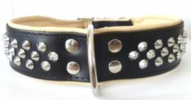 ELEGANCE leren halsband met studs | zwart/beige