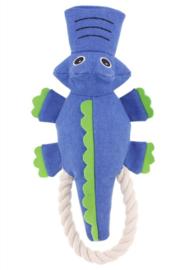 Hondenspeelgoed krokodil met touw en piepgeluid