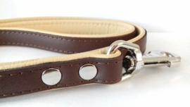 Leren hondenlijn / looplijn | Bruin / beige | 120 x 2cm