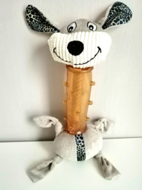 Hondenspeelgoed pluche hond met rubber en piepgeluid 30cm
