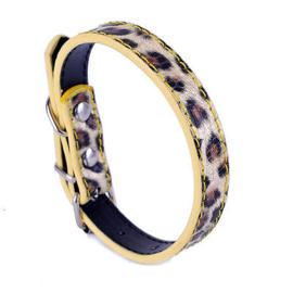 Z01- honden halsband met luipaardprint