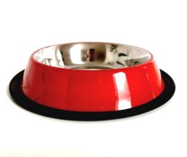 Hondenvoerbak rvs | rood | 21cm