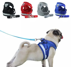 Reflecterend honden tuigje / puppy tuigje  | Grijs
