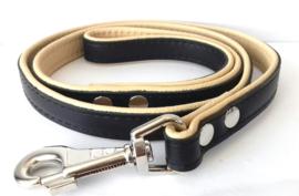 Leren hondenlijn / looplijn | Zwart / beige | 120 x 2cm