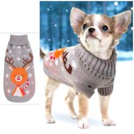 Kersttrui hond rendier | grijs |  L, XL