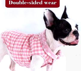 Pink plaid, honden bodywarmer | S, M, L, XL, XXL