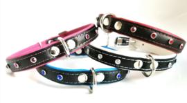 Honden halsband leer NEO met strass | 50cm