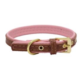 dubbellaagse halsband   bruin / roze