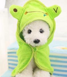 Honden badjas / badcape FROG | Groen |  M