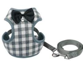 Hondentuigje / puppy tuigje met looplijn | grijs |M