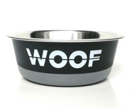 Hondenvoerbak WOOF | Zwart/grijs