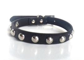 hb112 - halsband met studs   zwart