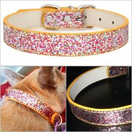 Metallic multi-color honden halsband   26-37cm