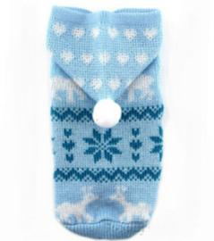 Warme hondentrui met capuchon | blauw | S