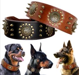 Leren honden halsband met studs | bruin / zwart