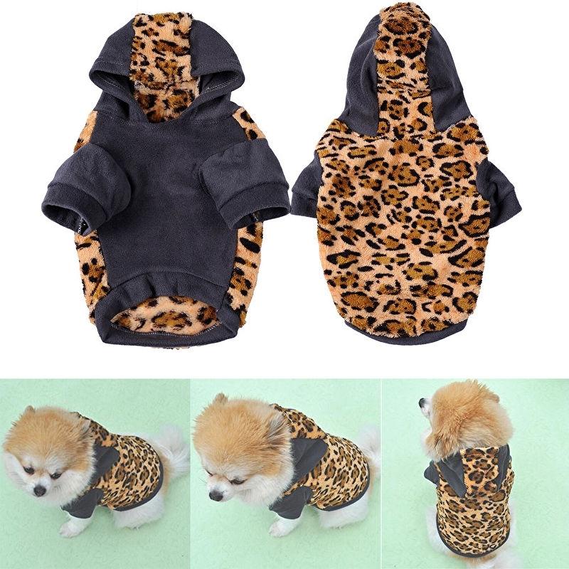 Warme fleece hoodie met luipaard print |XL
