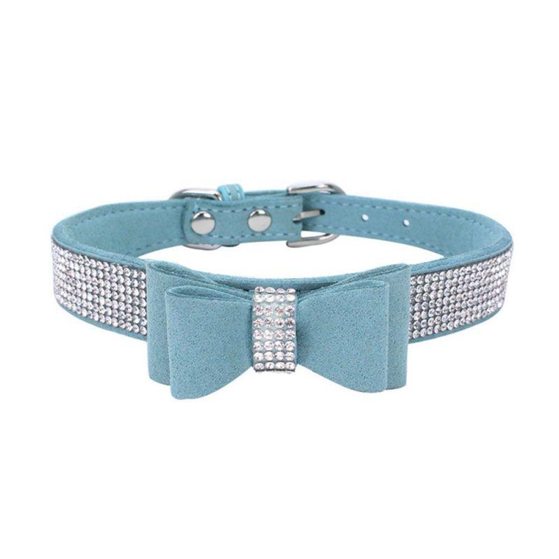 Puppy halsband met strik en strass | XXS, XS
