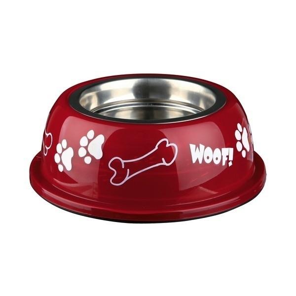 WOOF rvs honden voerbak   Rood