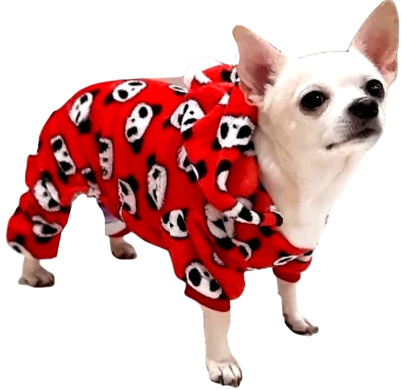 Honden Pyjama / Onesie fleece   rood   XS, S, M, XL