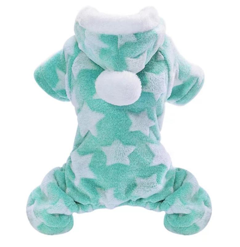 Honden onesie / jumpsuit fleece / pyjama | turquoise | S, XL