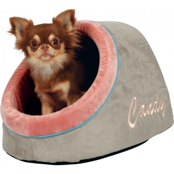 Knuffelholletje Candy | licht taupe grijs / roze | 40cm