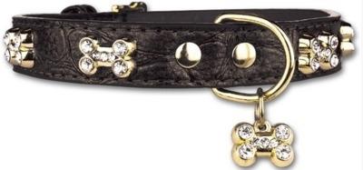 PETTARAZZI halsband Glitterbones | zwart